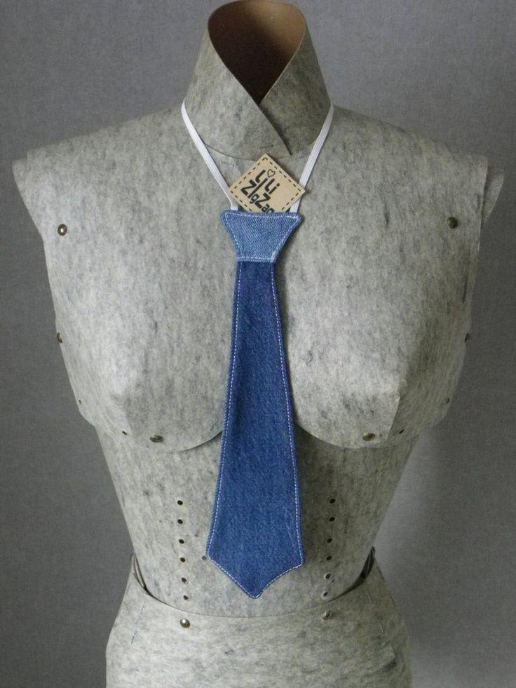 tie blue jeans recycled elastic. via Etsy.