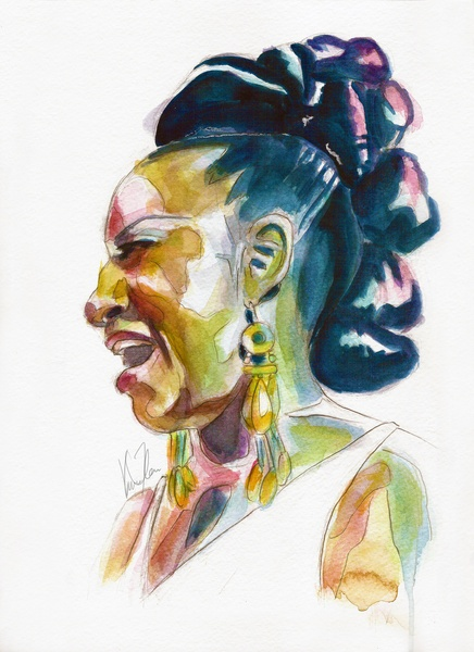 This style, with the color combination could be great inspiration for Celia Cruz's icons. Celia Cruz Art Print - $18.00