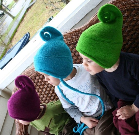 Awesome elf fleece hat. I think I'm gonna make myself one of these-could make up a pattern