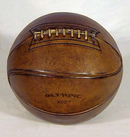 ITEM 11: This is a 1930's Vintage Laced Basketball. Description from antiqueathlete.com. I searched for this on bing.com/images