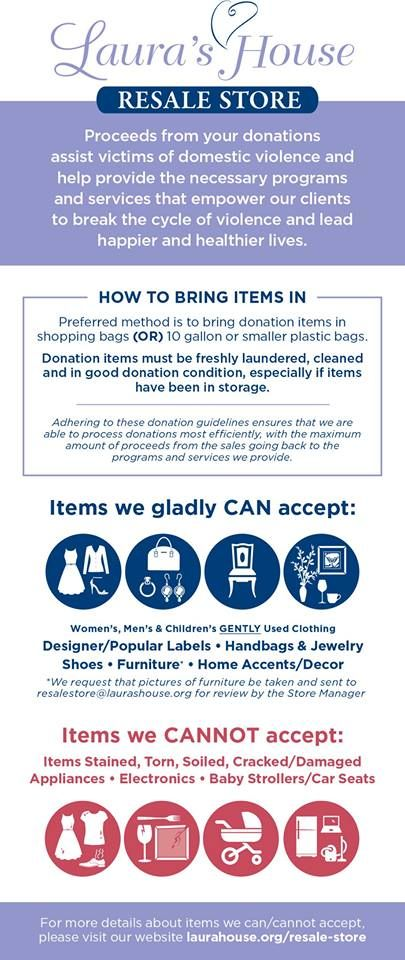 We are so grateful for your donations to our Resale Stores!  Here's a quick glance at the details about donating...