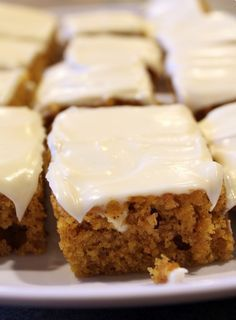 Pumpkin Bars. They are moist. They are delicious. They hit the spot.