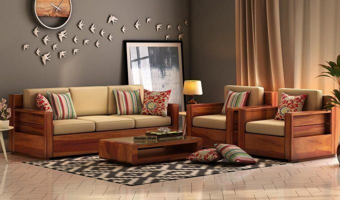 Best Buy Marriott Wooden Sofa 3 1 1 Set Honey Finish Online 400 x 300