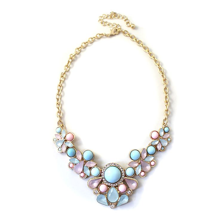 Florence - Clo Clo London. Statement necklace with pastel floral design. Features midi rhinestones Length: 40cm (15.7') – 48cm (18.9')