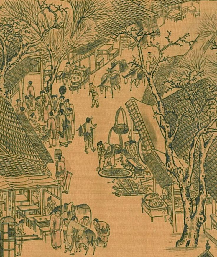 Zhang Zeduan. Part of the Qingming Scroll c. 12th century.  25.5 x 525 cm.  National Palace Museum, 