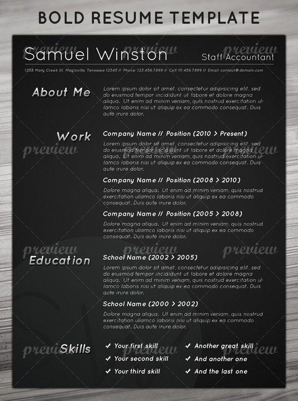dark bold resume