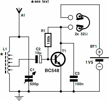 one transistor radio circuit powered by a 1 5v battery