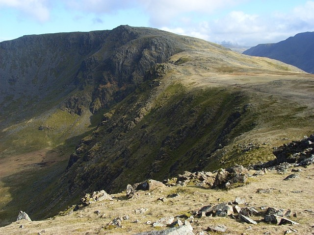 High Stile is a mountain in the western part of the Lake District in northwest England. It is the eleventh highest English Marilyn, standing 807 metres (2,648 ft) high, and has a relative height of 362 metres (1,187 ft).