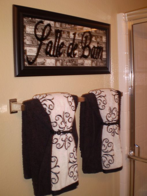love the idea of puttin french words around the house salle de bainbath room bathroom towels decorbathroom decorative towelsbathroom towel ideas - Towel Design Ideas