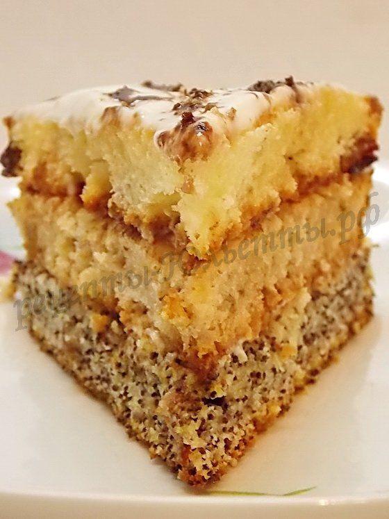домашний торт Сказка с маком, изюмом и орехами
