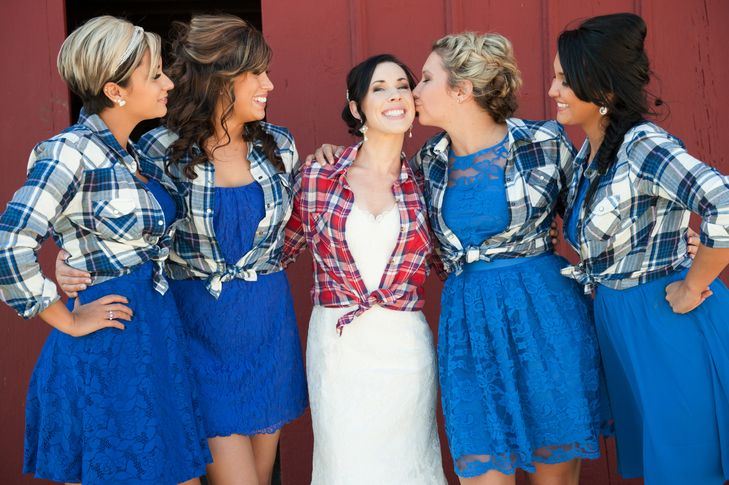 flannel shirts for the girls. <3 Bride in blue, maids in yellow??