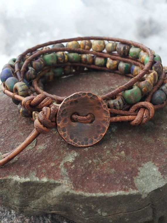 triple wrap bracelet FAST and FREE by offbeadinpathneosho on Etsy, $48.00 •Materials: brown leather cord, czech beads, picasso beads, copper button, hammered copper, rustic beads, off the beadin path neosho, distressed brown supple leather, hammered copper button, rustic czech glass beads by aileen