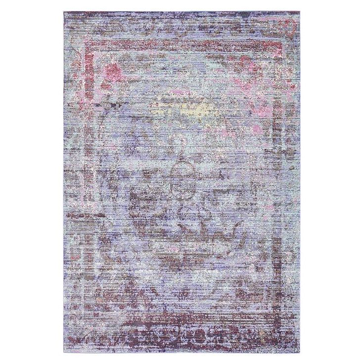 This Turkish rug is made of 100% polyester using cross-weaving technique and 100% cotton backing foundation for extra durability. This rug is easy-to-clean, stain resistant, and does not shed. Colors found in this rug include: Violet, Brown, Burgundy, Green, Navy Blue, Purple, Yellow. The primary color is Violet.