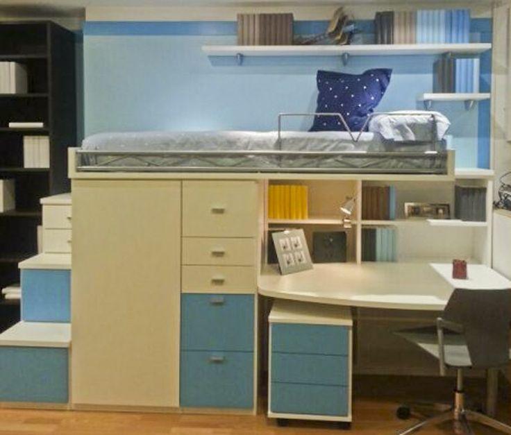R246 juvenil compacto de cama alta con biblioteca mesa - Dormitorios juveniles en barcelona ...