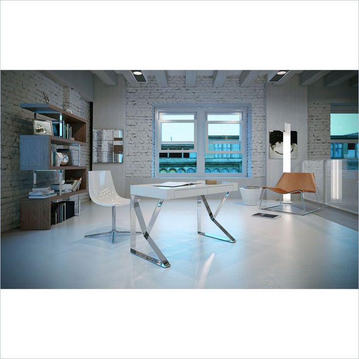 Modloft Houston Desk in White Lacquer - The Houston writing desk expresses a sharp yet modern style. Geometric steel legs are shaped to form an X-shaped base. Smooth table top with two concealed front panel drawers complete the unit. Contemporary European soft-closing glides enable effortless drawer movement. Polished stainless steel legs are a stylish detail.