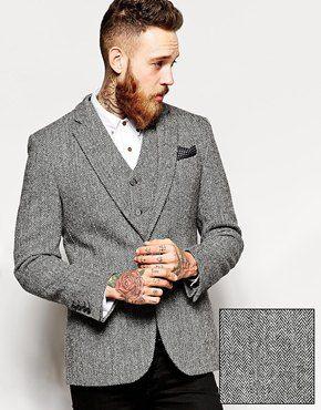 Enlarge ASOS Slim Fit Blazer In Harris Tweed Fabric