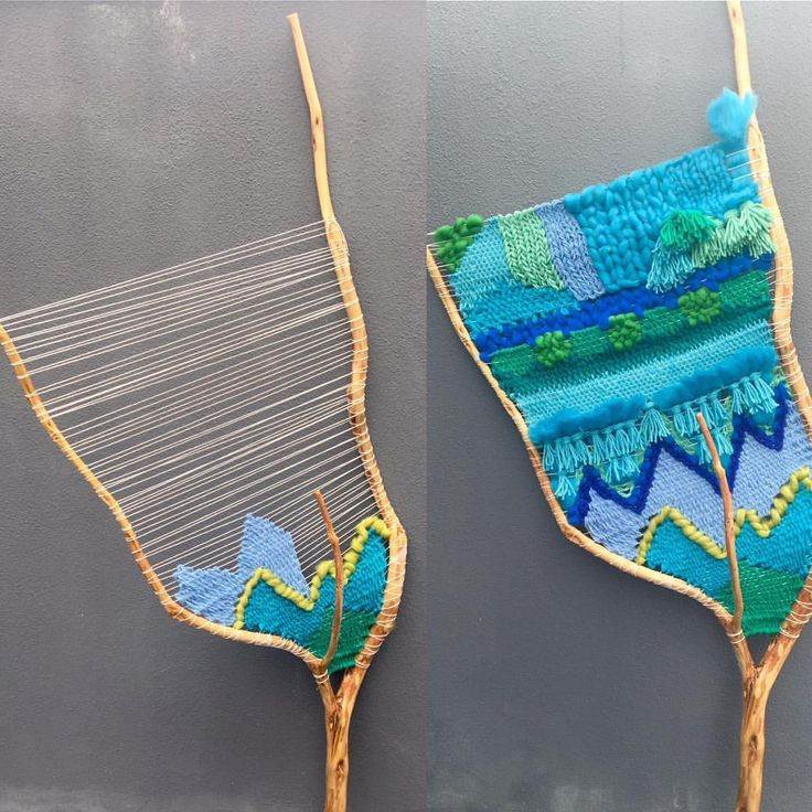 """Weaving big branches is not easy. In opposite to a loom, the warp keeps on moving while you are weaving, becoming loose. In this one (branch """"Aqua""""), I had to tighten the warp at least 5 times. Frustration almost won... almost #branch #branchweaving #aqua #bluedream #greenbeauty #weaving #weavingart #weaveweird #weavingportugal #yarn #textileart #textileartist #tissage #tissagemoderne #tapestryweaving #ecofriendly #ecodecor #ecodecoración #postfortheaesthetic #oficina166 #mmstudent"""