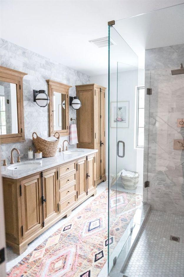 Modern Boho Bathroom Renovation Reveal With Rugs Usa S Bathroomcabinets