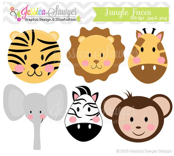 INSTANT DOWNLOAD, jungle animal clipart, girly jungle clip art, for baby showers, invitations, annoucements, digital scrapbooking