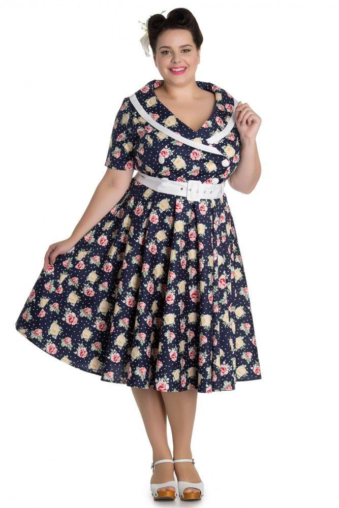 5a834b1550493 Hell Bunny Emma Vintage Floral Punkte Collar 50s Dress Kleid Plus Size  Rockabilly Jetzt bestellen unter   https   mode.ladendirekt.de damen bekleidu…