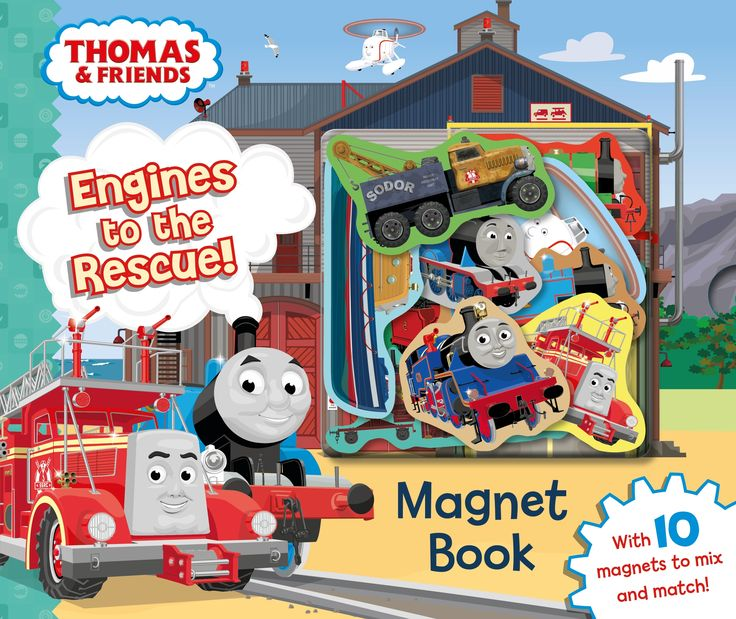 Thomas & Friends: Engines to the Rescue! Magnet Book  Peep! Peep! All aboard with Thomas the Tank Engine in this magnetic adventure!  Take a journey across the Island of Sodor and meet all the trains in this fun, magnetic book with 4 great scenes. Then create adventures of your own with Thomas, James, Percy, Harold and all their friends. Each of the 10 engines is a magnetic piece that can be used again and again.