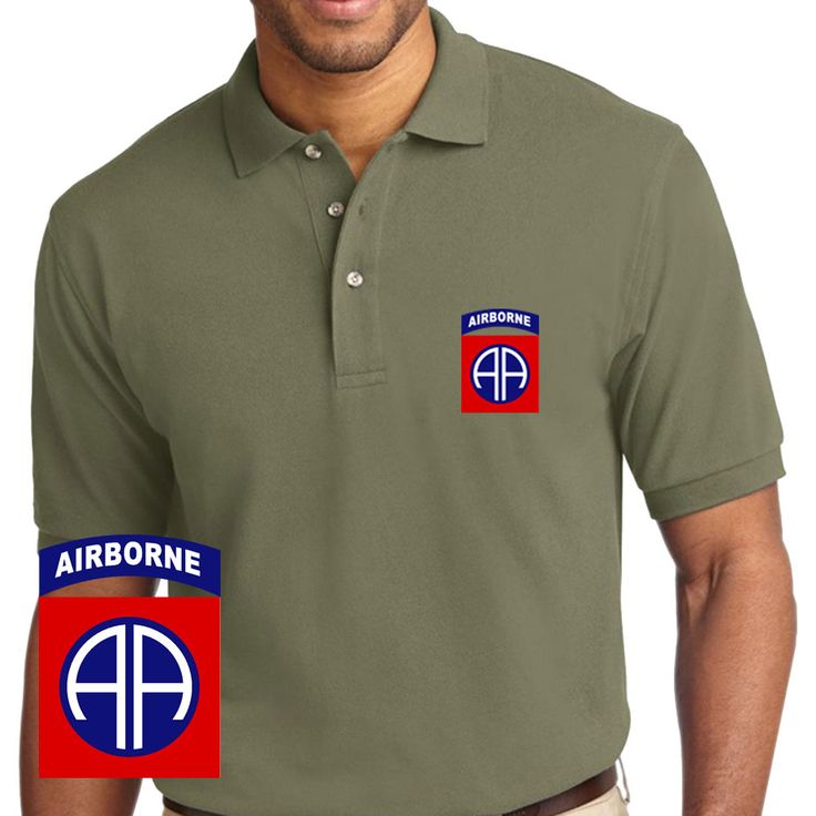 Embroidered Army 82nd Airborne Division - Polo Shirt. These Polos will keep you cool and looking good all season long. The Insignia is handsomely embroidered onto our comfortable 100% cotton Polos. Exclusively offered at VetFriends.