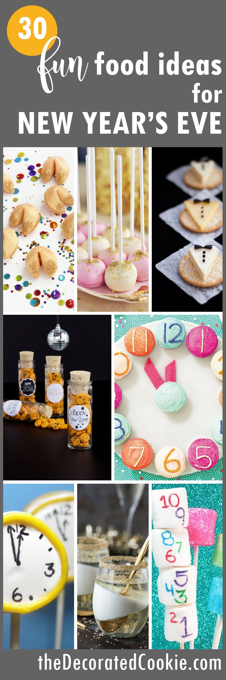 FUN FOOD ideas for New Year's Eve -- roundup of awesome, clever food for your New Year's party