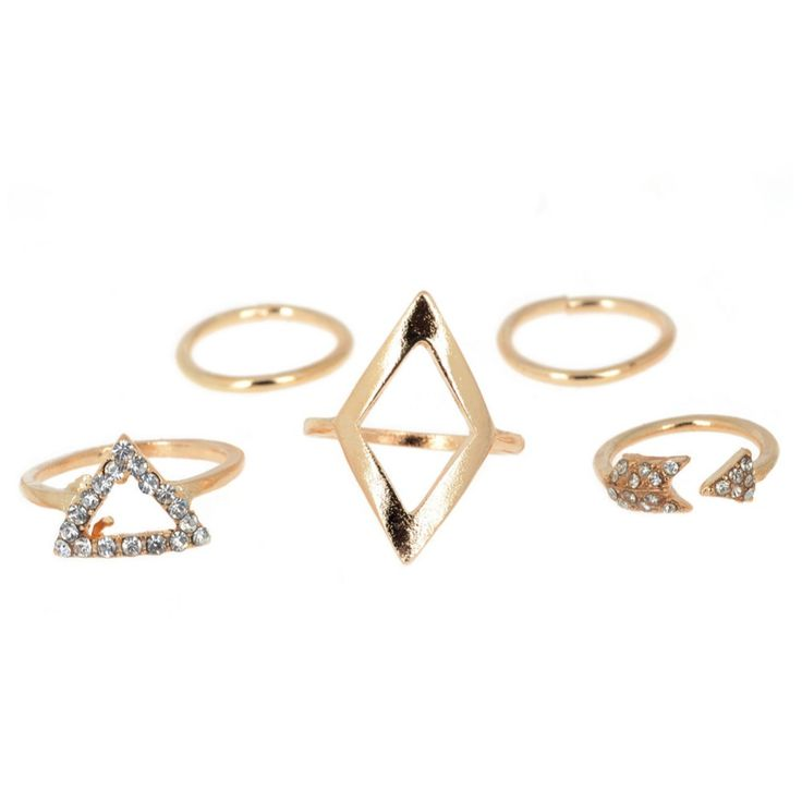 Fashion Punk Gold Geometric Triangle Mid Finger Rings Fashion Wild Arrows Triangle Joint Ring Sets