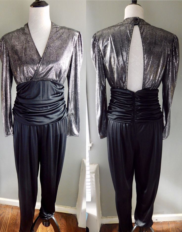 80s Night Moves Black & Silver Lame Mettalic Snakeskin Print JUMPSUIT Playsuit Romper Deep V Open Back Tapered Ruched 11 12 Medium Disco by CompulsiveNeurons on Etsy https://www.etsy.com/listing/501353540/80s-night-moves-black-silver-lame