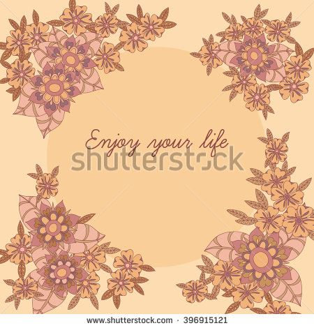 Wreath illustration made of flowers and herbs. Vector decorative frame. Spring elements. Floral doodles wreath. Hand drawn background with doodle elements. - stock vector