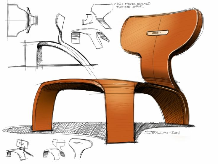 chair designs initial concepts marker drawings - Google Search