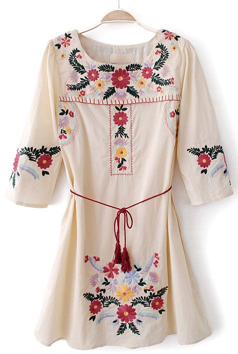 Beige Half Sleeve Embroidery Belt Loose Dress
