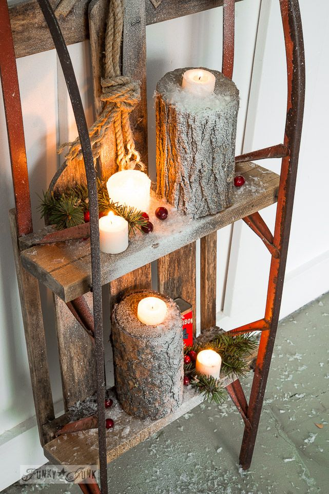 Snowy log candles  / Snow sleigh shelf on FunkyJunkInteriors.net