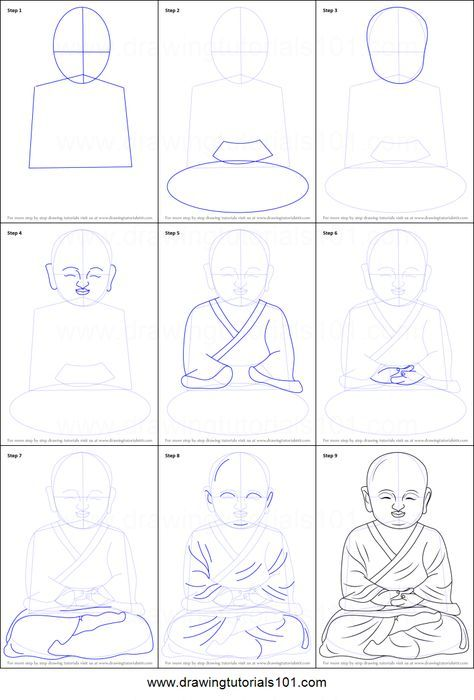 477d077e363f4 How to Draw a Child Buddha printable step by step drawing sheet :  DrawingTutorials101.com