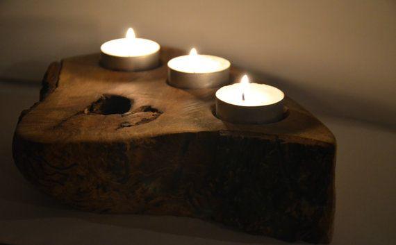 Wood Tealight Holder  Rustic Tealight Holder  by KubuHandmade