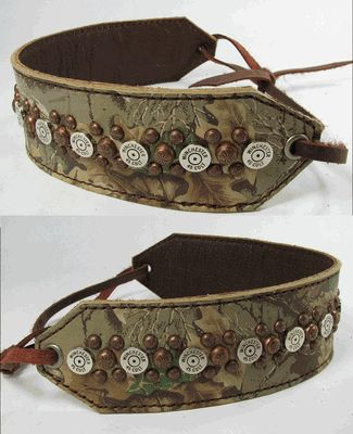 """2"""" Wide Camo Leather Headband with Winchester 45 Bullets by Running Roan Tack"""