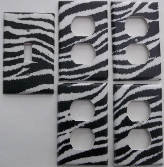 Girls Zebra Bedroom Decor Light Switch Cover Plate Stripe