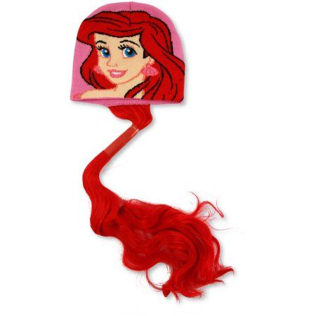 Disney Little Girls Princess Ariel Winter Beanie Hat and Ponytail, Age 4-7, Size: 7-10, Pink