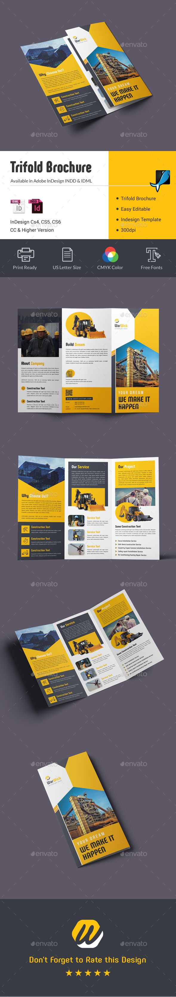 Construction Trifold Brochure Template InDesign INDD - US Letter Size