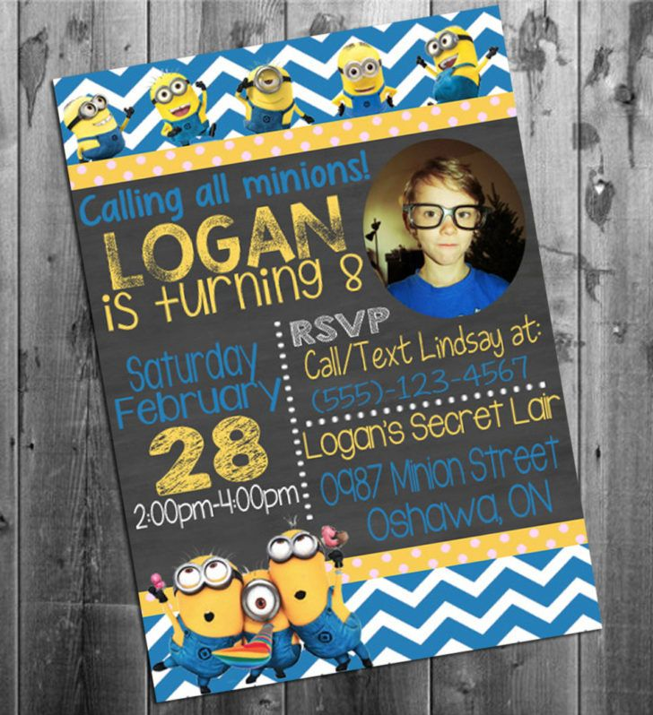 Birthday. Minion Birthday Invitation Despicable Me Birthday Party Invite with Photo Sample Ideas.