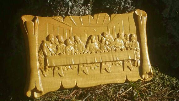 Last Supper Wood 3D Carving Jesus Christian Wall Art | Cool ...