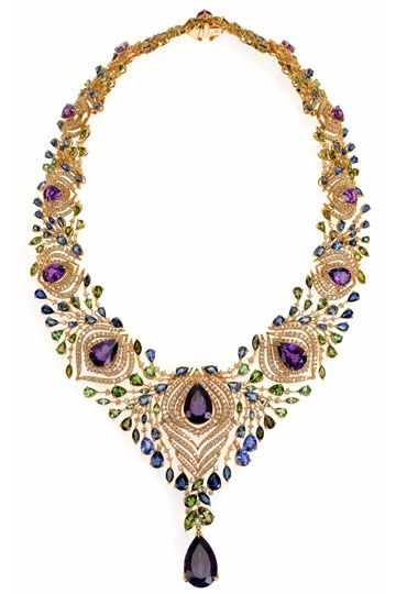 The 'Exotica' necklace by Ganjam (celebrity Indian Jewelry designers).  The peacock is the national bird of India.