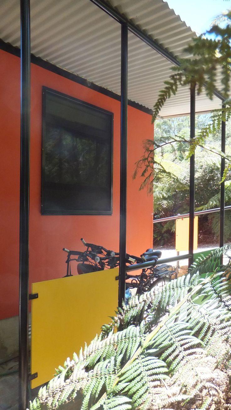 Roof overhang provides bike parking
