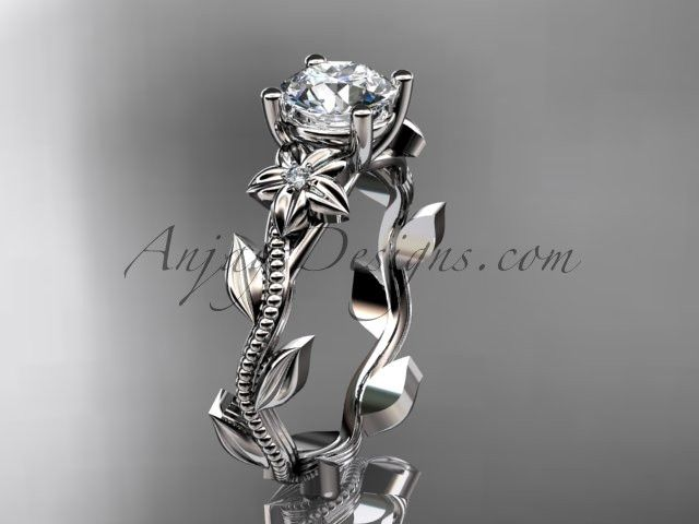 """Unique Platinum diamond flower, leaf and vine wedding ring,engagement ring with a """"Forever Brilliant"""" Moissanite center stone ADLR223"""