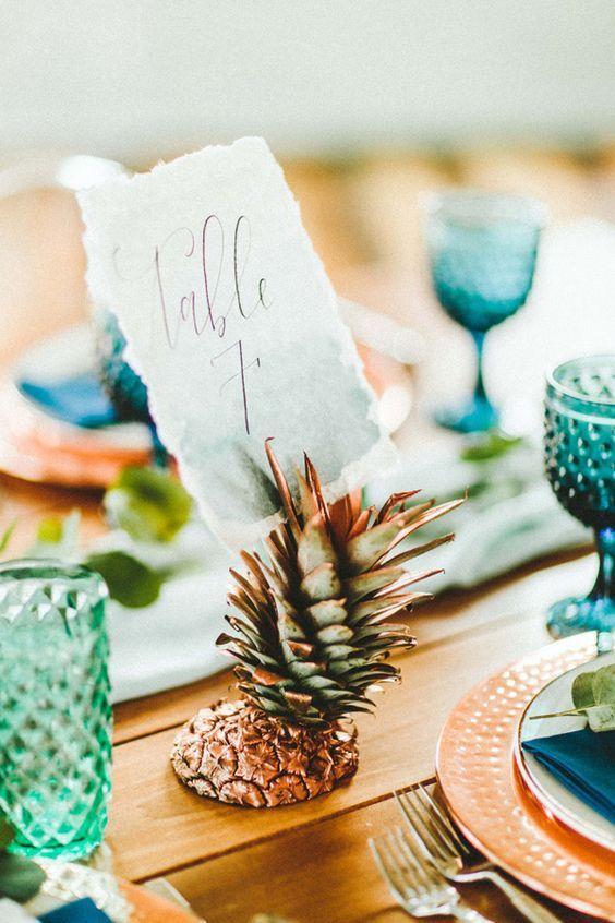 pineapple wedding table number #weddingtable #wedding
