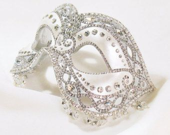 CUSTOM Masquerade Ball Mask - White Silver and Crystal - Venetian Mask - Wedding Mask - Forever