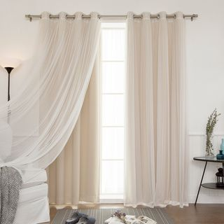 Aurora Home Mix and Match Blackout and Sheer Tulle Lace with Antique Bronze Grommets 4-piece Curtain Set | Overstock.com Shopping - The Best Deals on Curtains