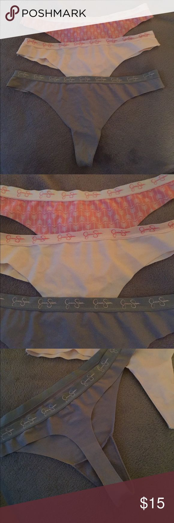New Jessica Simpson thong panties size M/L New panties Jessica Simpson size large but to me look like a medium ..too small for me this is for all 3 pairs.. Jessica Simpson Intimates & Sleepwear Panties