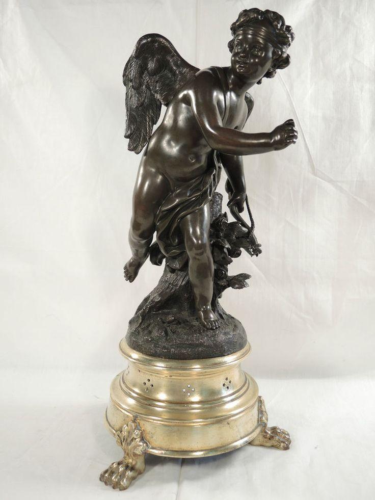 Bronze Skulptur Statue Figur Amor Eros Sockel um 1900 Römische Mythologie Top Zu