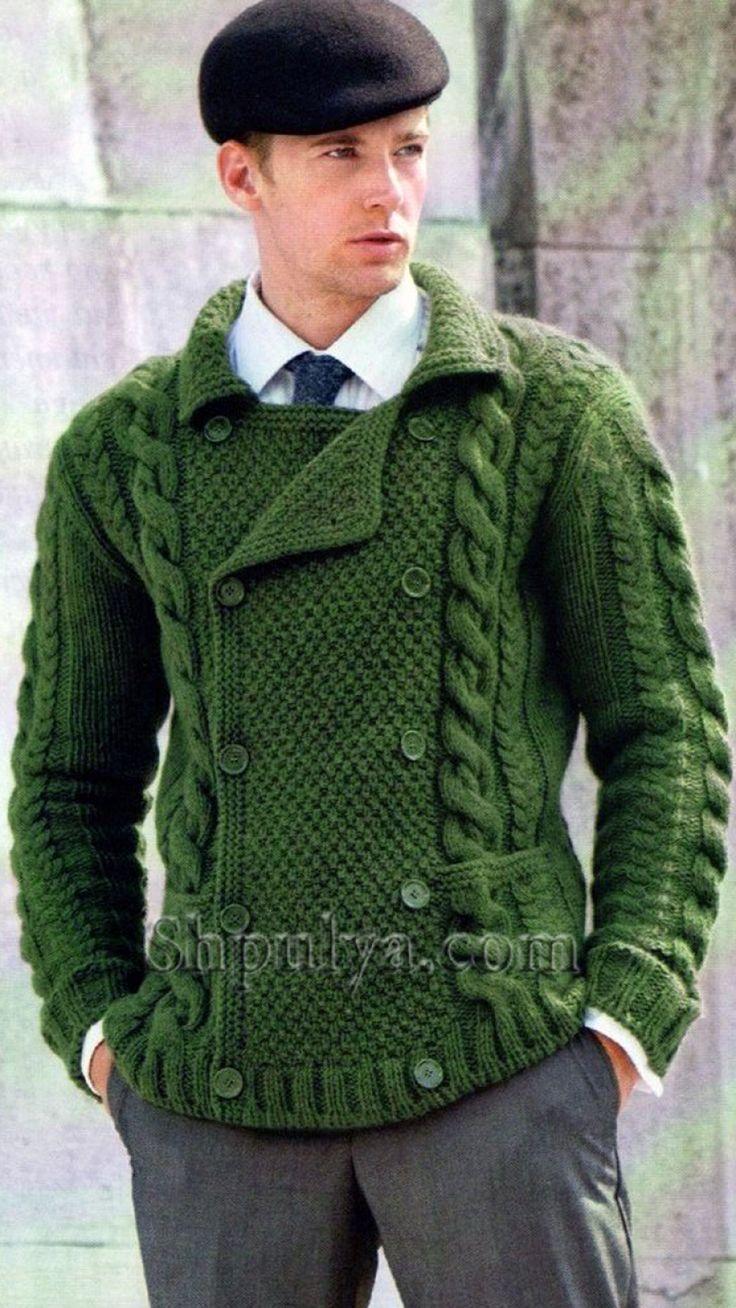 Зеленый мужской двубортный жакет, вязаный спицами